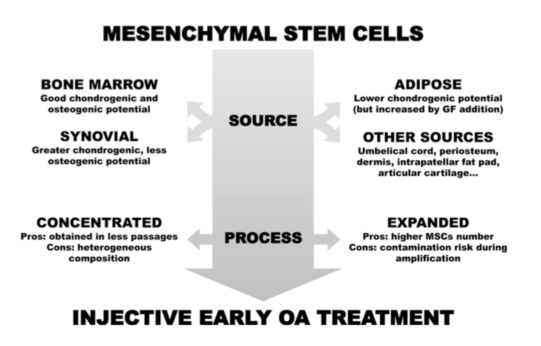 Methods of preparing stem cells. Non-surgical treatments for the management of early osteoarthritis. Filardo et al. Knee Surgery, Sports Traumatology, Arthroscopy June 2016